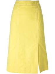 Celine Vintage A Line Midi Skirt Yellow And Orange