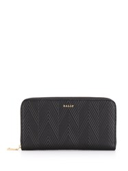 Bally Embossed Leather Wallet Black