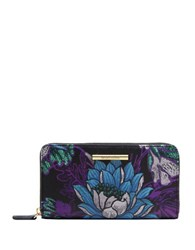 Braccialini Katia Zip Around Leather Wallet Grey Multi