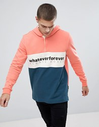 Your Turn Yourturn Colour Block Hoodie With Slogan In Pink And Blue Blue Pink Multi