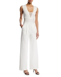Herve Leger Sleeveless Deep V Lace Inset Wide Leg Jumpsuit White