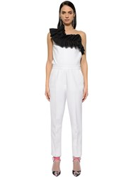 Msgm Double Crepe Jumpsuit With Ruffles