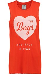 Zoe Karssen The Boys Are Back Printed Modal And Cotton Blend Jersey Tank Orange