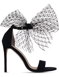 Kurt Geiger Suzette Net Bow Suede Sandals Black