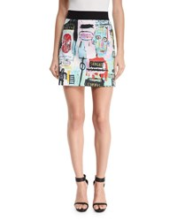Alice Olivia Riley Graffiti Print A Line Miniskirt Multi Colors