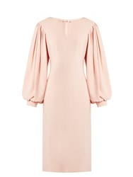 Osman Maddy Balloon Sleeved Crepe Midi Dress Light Pink