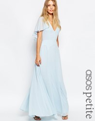 Asos Petite Flutter Sleeve Cape Back Maxi Dress Babyblue