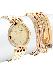 Adrienne Vittadini Watch And Crystal Studded Bracelet Set Of 5 Gold