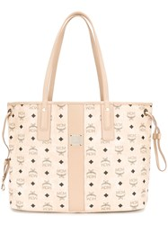 Mcm Oversized Logo Print Shopper Tote Nude And Neutrals