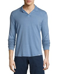 Orlebar Brown Miles Long Sleeve Polo Shirt Deepest Blue