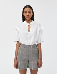 Just Female Ferry Ruffle Trim Blouse Off White