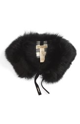 Burberry Women's Genuine Fox Fur Collar Black Camel