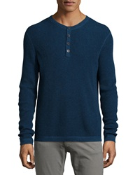 Neiman Marcus Waffle Knit Long Sleeve Henley Shirt Blue