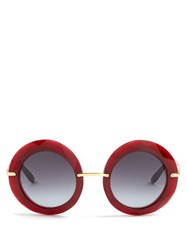 Dolce And Gabbana Round Frame Acetate Sunglasses Red