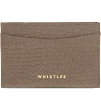 Whistles Matte Crocodile Embossed Leather Card Holder Grey