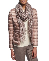 Peserico Plaid Scarf With Fringe Pink