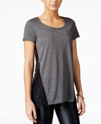 Hybrid Juniors' Lace Back Pullover High Low Top Heather Black