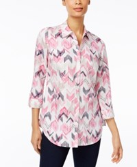 Jm Collection Printed Roll Tab Blouse Only At Macy's Steel Rose Chevron