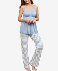 Motherhood Maternity Pajama Pants Blue White Stripe