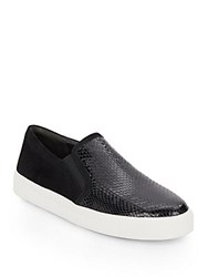 Via Spiga Maliah Embossed Patent Leather And Suede Slip On Sneakers Black