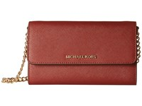 Michael Michael Kors Jet Set Travel Large Phone Crossbody Brick Cross Body Handbags Red