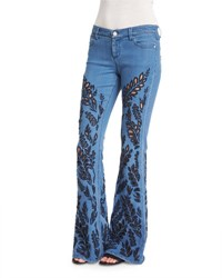 Alice Olivia Ryley Embroidered Flare Jeans Light Blue Denim