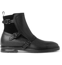 Alexander Mcqueen Suede And Grained Leather Monk Strap Boots Black