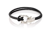 Salvatore Ferragamo Men's Double Band Bracelet Black
