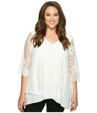 Karen Kane Plus Size Lace Overlay Asymmetric Top Cream Women's Short Sleeve Pullover Beige