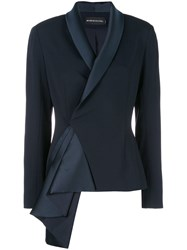Brandon Maxwell Asymmetric Sash Tailored Jacket Blue