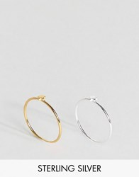 Asos Pack Of 2 Gold Plated And Sterling Silver Star Rings Multi