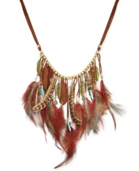 Macy's Gold Tone Faux Suede Multi Feather And Charm Statement Necklace