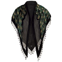 Chesca Velvet Peacock Feather Shawl Black