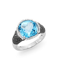 Effy Final Call Blue Topaz Black Diamond White Diamond And 14K White Gold Halo Ring