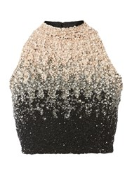 Lace And Beads Ombre Sequin Crop Top Multi Coloured