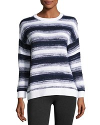 Vince Ombre Stripe Pullover Sweater Blue White