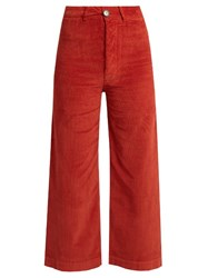 Masscob Wide Leg Corduroy Stretch Cotton Cropped Trousers Dark Orange