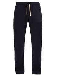 The Gigi Striped Cotton Blend Trousers Navy