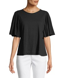 Chelsea And Theodore Flutter Sleeve Pullover Tee Black