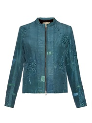 By Walid Floral Embroidered Fur Lined Jacket