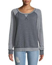 Three Dots Reversible Striped And Dotted Sweatshirt Blue
