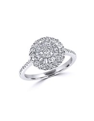 Effy Diamond And 14K White Gold Medallion Ring Silver