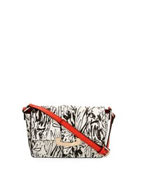 French Connection Ellen Floral Print Crossbody Bag Black White