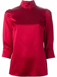 Dolce And Gabbana High Collar Blouse Red
