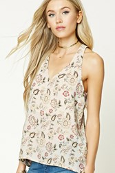 Forever 21 High Low Floral Tank Top Ivory Olive