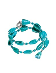 Antica Murrina Veneziana Marina 1 Rigido Turquoise Green Murano Glass And Silver Leaf Bracelet