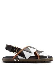 Marni Zigzag Applique Sandals Tan White