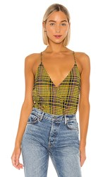 Lovers Friends Bianca Bodysuit In Yellow. Yellow Plaid