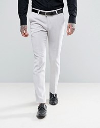 Noose And Monkey Super Skinny Suit Trousers In Velvet Grey White