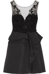 Marchesa Notte Embellished Tulle And Faille Mini Dress Black